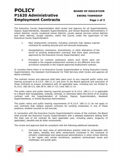 1620 Administrative Employment Contracts - Ewing Township Public