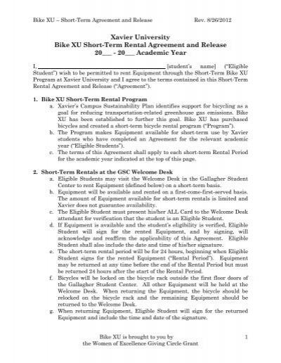 BIKE XU Short Term Rental Agreement and Waiver - Xavier University - short term rental agreement