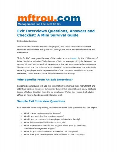 Exit Interviews Questions, Answers and Checklist - Management for