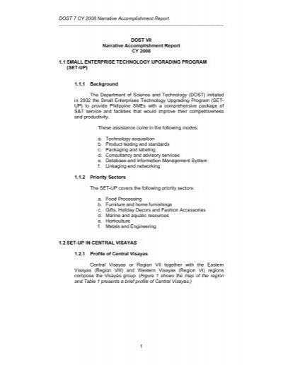 DOST 7 CY 2008 Narrative Accomplishment Report 1 DOST VII Narrati