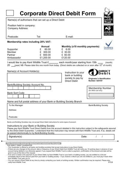 Corporate Direct Debit Form - Kent Wildlife Trust - direct debit form