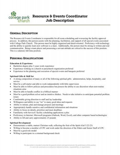 Resource  Events Coordinator Job Description - College Park - Event Coordinator Job Description
