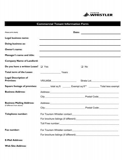 Commercial Tenant Information Form - Tourism Whistler Member - Tenant Information Form