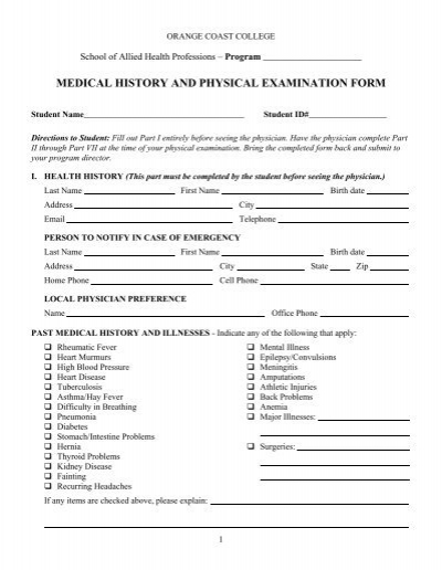 Doc#831535 Physical Exam Form u2013 Yearly Physical Examination Form - physical exam form