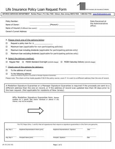 Life Insurance Policy Loan Request Form - First Investors - loan request form
