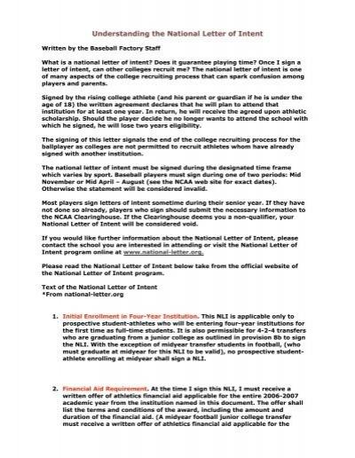 Letter of Intent/Scholarship Agreement - NJCAA