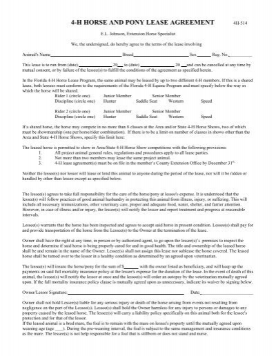 4-h horse and pony lease agreement - Alachua County Extension