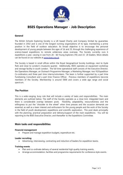 PEAKS Operations Manager Job Description - Oxford Policy