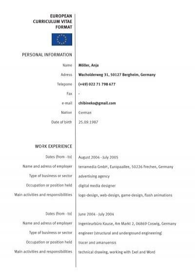 curriculum vitae european format german professional resumes