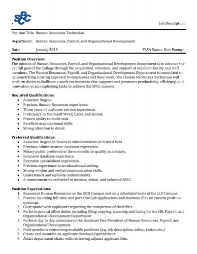 Job Description Position Title Human Resources Technician - human resources associate job description