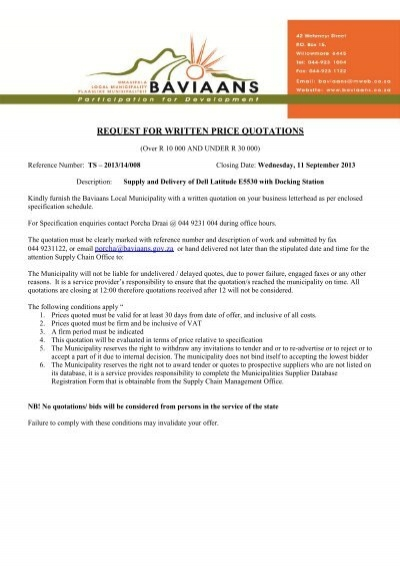 request for written price quotations - Baviaans Municipality