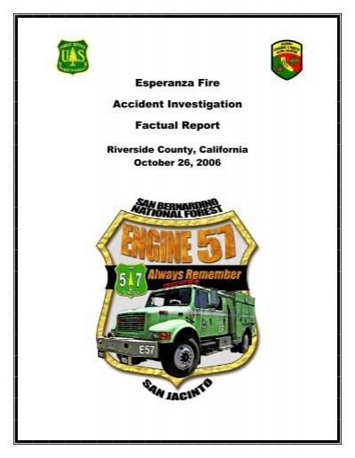 Esperanza Fire Accident Investigation Factual Report