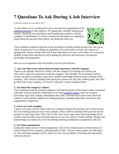 7 Questions To Ask During A Job Interview - AGA - questions to ask during interview