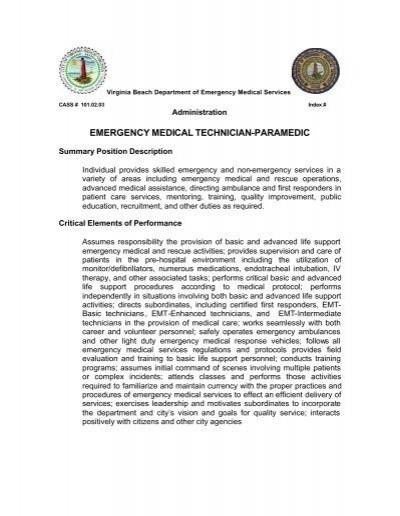 1010203 EMT Lifeguard Supervisor Job Description - Vbems - paramedic job description