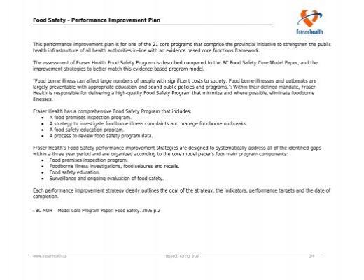Food Safety - Performance Improvement Plan - Fraser Health
