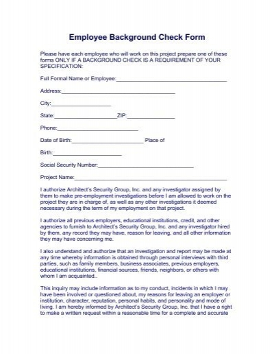 Employee Background Check Form - Architect\u0027s Security Group, Inc