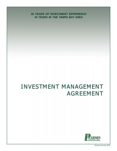 PCIu0027s Investment Management Agreement - Pearson Capital, Inc - investment management agreement