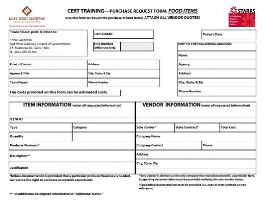 CERT TRAINING---PURCHASE REQUEST FORM, FOOD ITEMS