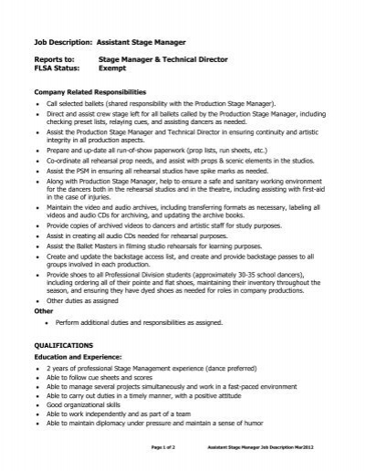 Company Manager Job Description - technical director job description