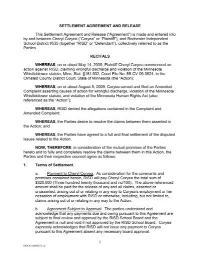 1 SETTLEMENT AGREEMENT AND RELEASE This - BoardDocs