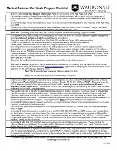 Medical Assistant Certificate Program Checklist - Waubonsee