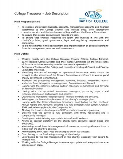 College Treasurer â\u20ac\u201c Job Description - treasurer job description