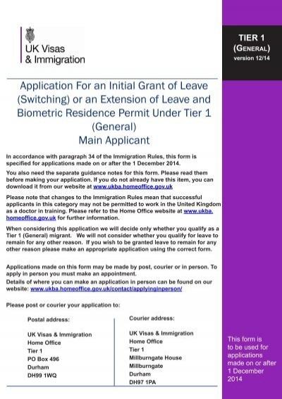 TiEr 4 (GEnEral) aPPlicaTiOn FOrm - English UK - general application form