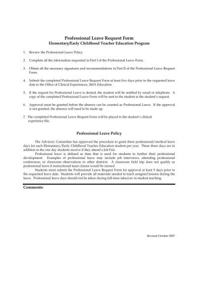 Professional Leave Request Form