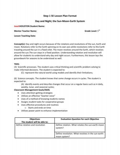 Step 1 5E Lesson Plan Format Day and Night; the - teachHouston - teks lesson plan template