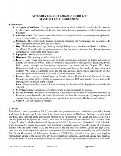 master lease agreement - Texas Department of Information Resources