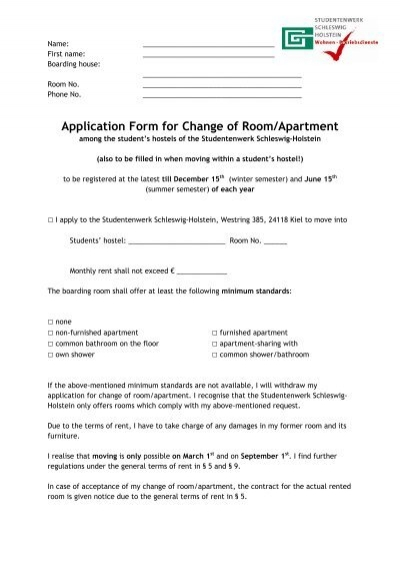 Application Form for Change of Room/Apartment - Studentenwerk