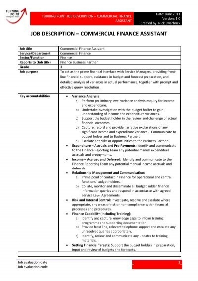 job description â\u20ac\u201c commercial finance assistant - financial assistant job description
