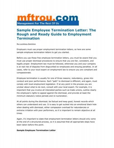 Sample Employee Termination Letter - Management for the Rest of Us