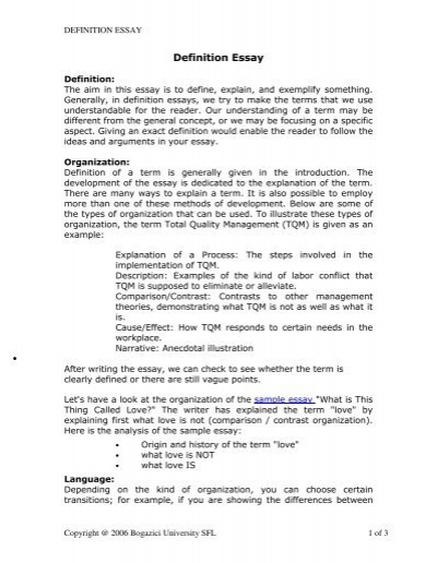 Definition Essay - bogazici university online writing lab