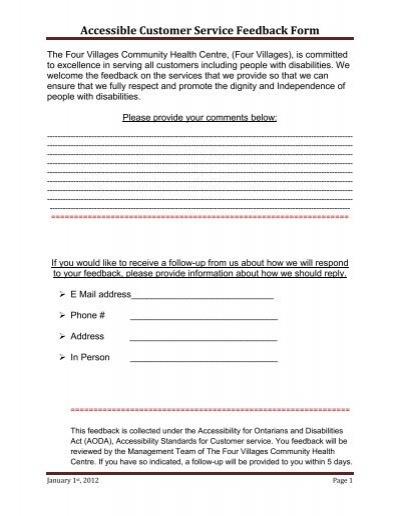 AODA (Customer Feedback Form) - The Four Villages Community - service feedback form