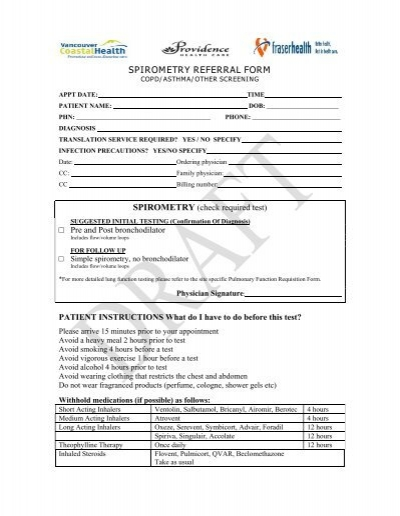 SPIROMETRY REFERRAL FORM - Fraser Health Authority - referral form