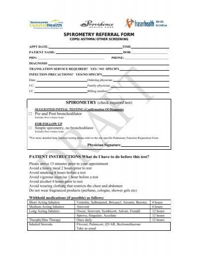 SPIROMETRY REFERRAL FORM - Fraser Health Authority