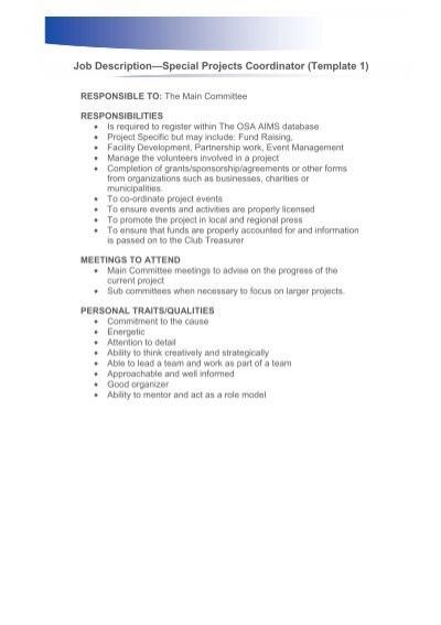 Special Projects Coordinator - Job Description - Ontario Soccer