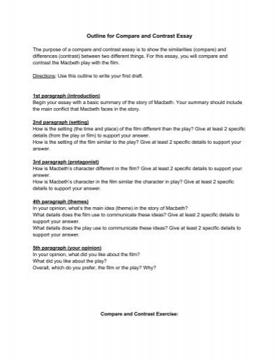 Outline for Compare and Contrast Essay - Odyssey Charter School - macbeth conflict essay