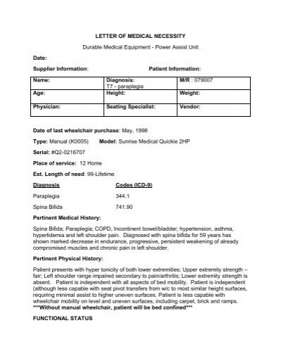 Sample letter of medical necessity - Frank Mobility Systems