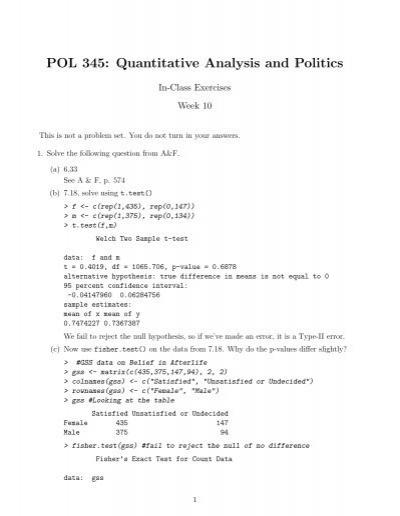 POL 345 Quantitative Analysis and Politics