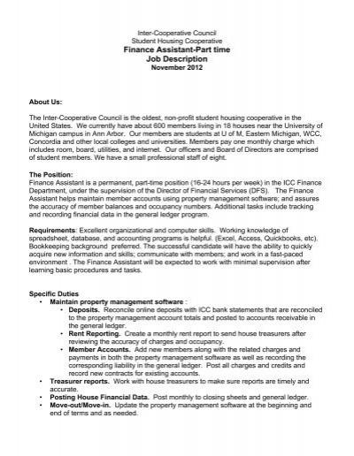 Finance Assistant-Part time Job Description - Inter-Cooperative - financial assistant job description