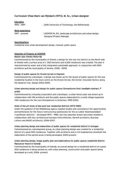 CV Mark v R - HOSPER - landscape architecture and urban planning