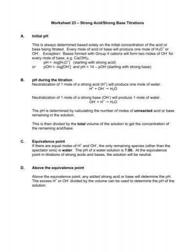 Worksheet 23 â\u20ac\u201c Strong Acid/Strong Base Titrations A Initial pH - titrations