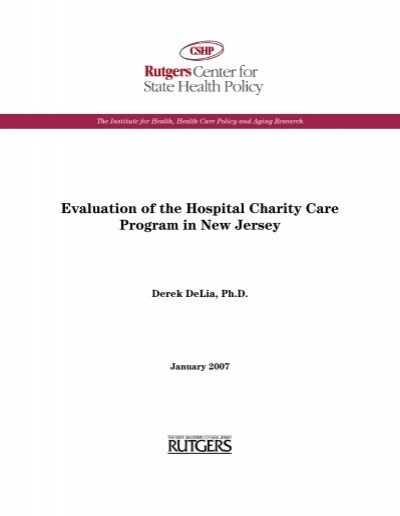 Evaluation of the Hospital Charity Care Program in New Jersey - Charity Evaluation