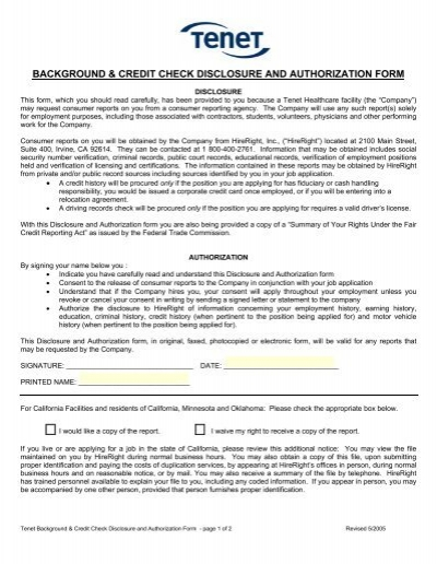 background  credit check disclosure and authorization form - Credit Check Release Form