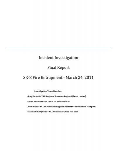 Incident Investigation Final Report SR-8 Fire - Wildland Fire - fire investigation report