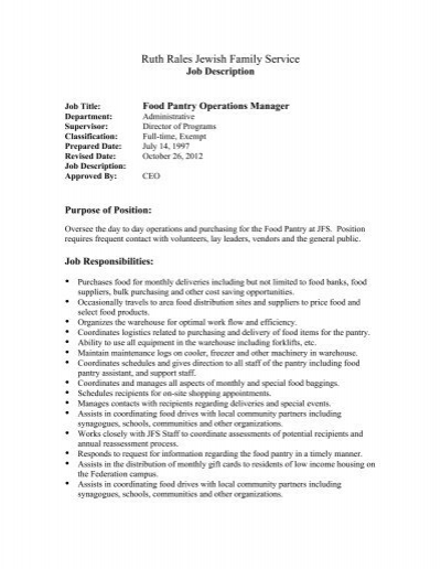 JOB DESCRIPTION Job Title Food Pantry Coordinator (Part time 30