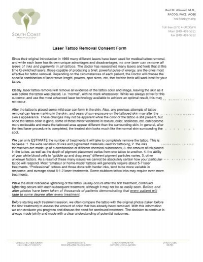Laser Tattoo Removal Consent Form - Urogynorg - tattoo consent forms