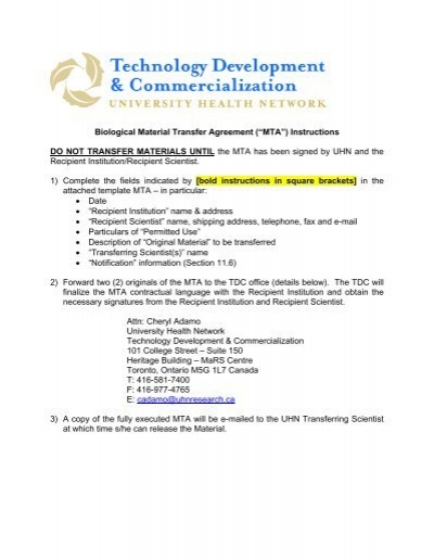 Biological Material Transfer Agreement (â\u20acœMTA - UHN Research - transfer agreement